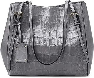 Fashion New Women's Tote Bag Solid Color Crocodile Soft Leather Large Capacity Shoulder Bag European & American Handbag PU Messenger Bag (Color : Gray)