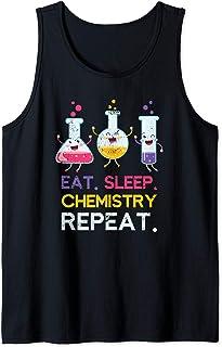 Laboratorio Comer Dormir Química Repetir Ciencia Químico Camiseta sin Mangas