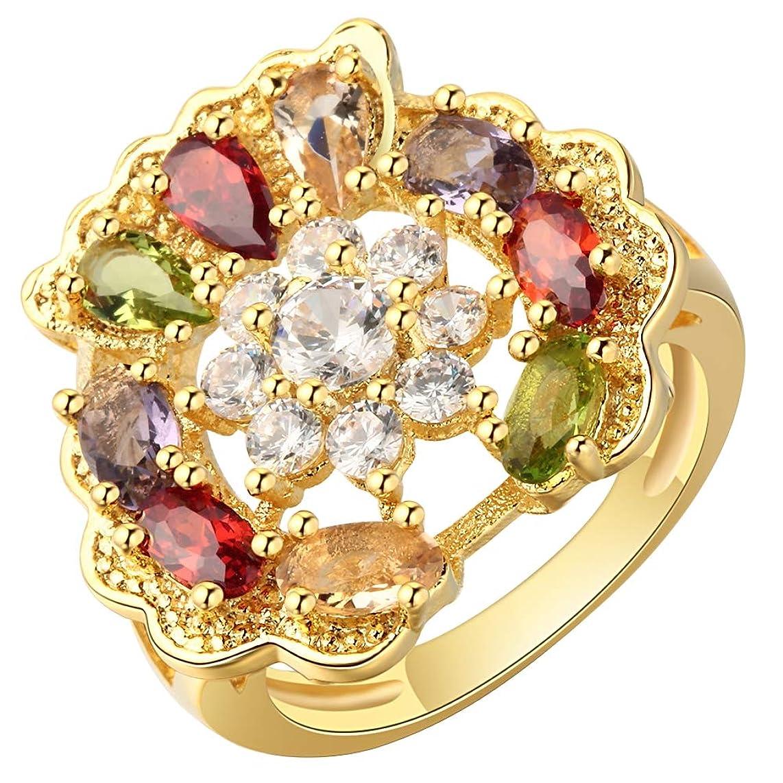 現実音声学幻想COMVIP クリエイティブ 指飾り ジルコニア きらきら 指輪 リング エレガント ファッション 人気 誕生日 プレゼント 色:ゴールド 米国サイズ10