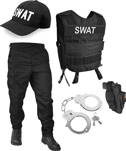 normani SWAT oder Security Kostüm Besteehend aus Weste, Patch, Hose, Cap und Handschellen - [S - 6XL]