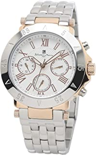 [ Salvatore Marra(サルバトーレマーラ) ] クォーツ メンズ 腕時計 男性用 ステンレススチール アナログ ホワイト 防水 うで時計 プレゼント クロス付き PGWH [並行輸入品]