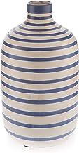 Boho Traders Rustic Urn Bold and Stripy Decorative Urn, Whitew/BlueSpiral