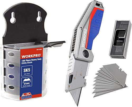 wholesale WORKPRO Utility Knife Blades Dispenser SK5 Steel and Folding Pocket discount Utility Knife - discount Heavy Duty Box Cutter, Quick Change Blade, Liner Lock, Al Die-Casting Handle with Belt Clip, 100-pack Blades Include online