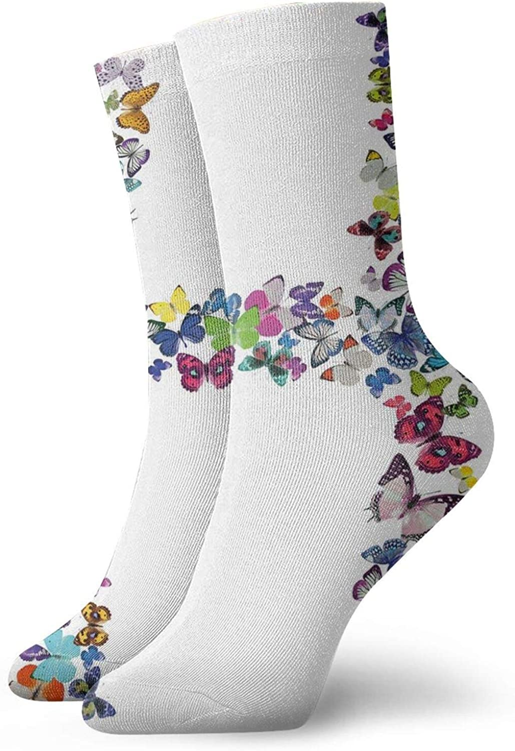 Compression High Socks-Cute Pattern Colorful Butterflies Lepidoptera Family Girls Exotic Nature Font Best for Running,Athletic,Hiking,Travel,Flight
