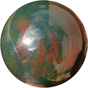 Healing Bloodstone Crystal Sphere - Natural Blood Stone Aura Cleansing Gemstone Reiki Ball for Women & Men - Authentic Heliotrope Bloodstones Crystals for Positive Energy, Meditation & Yoga 45-50 mm