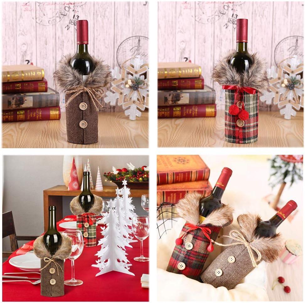 GZ-2 Couverture de Bouteille de Vin de No/ël,2 pi/èces Wine Bottle Cover,Couverture Chandail de Bouteille de Vin,Neige Conception Pull Bouteille de Vin pour le D/écoration de F/ête de Table D/écor