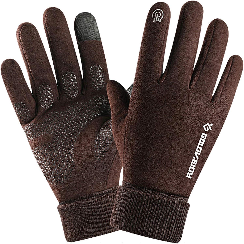 Winter Warm Gloves, Men's Touch Screen Non-Slip Gloves, Warm Soft Lining Elastic Cuff Mittens