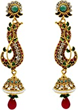 Saamarth Impex Emerald, Ruby (Created) Kundan Meena Gold Plated Dangle Earring PG-109523