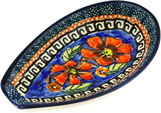 Polish Pottery Spoon Rest 5-inch Poppies UNIKAT