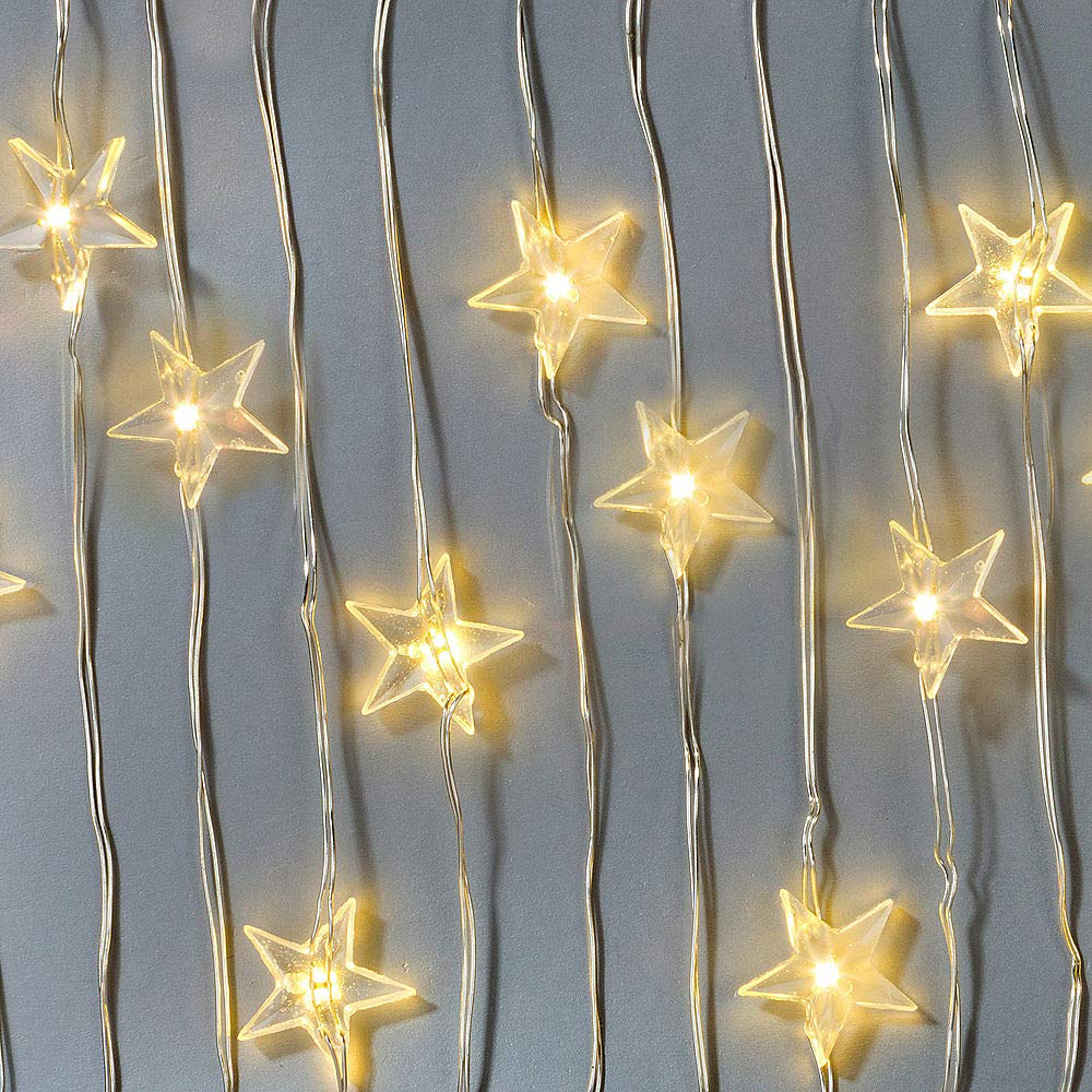 Amazon Com Perfect Holiday 20 Led Star Led String Lights Battery Operated Waterproof Consume Up To 70 Less Power For Parties Christmas Lighting Events Indoor Outdoor Decor Wedding Warm White Garden Outdoor