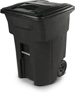 Toter 025596-R1209 Residential Heavy Duty Two Wheeled Trash Can with Attached Lid, 96 Gallon, Blackstone