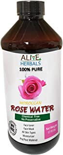 Natural Rose Water For Cooking 17 Oz. Food Grade 100% Natural Moroccan Rosewater (Chemical Free) Best Complete Facial & Skin Toner, Hair Oil, Moisturizer and Cleanser