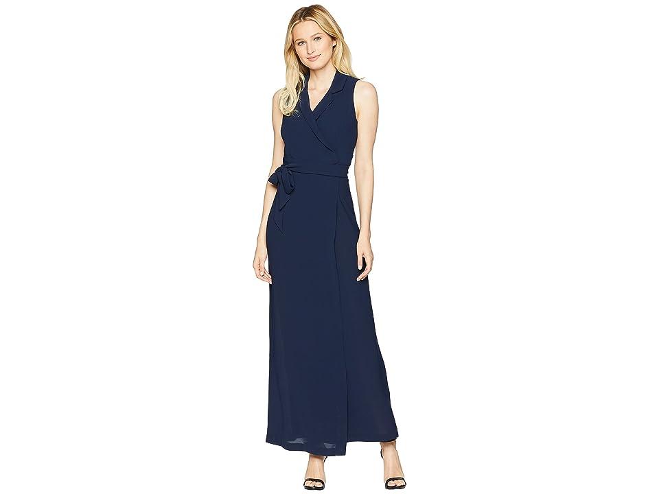 Adrianna Papell Gauzy Crepe Tuxedo Maxi Dress (Blue Moon) Women