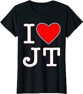 Womens I love JT heart funny JT gift t-shirt for men, women & kids