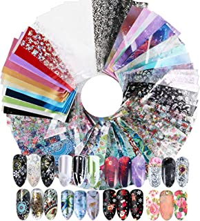FLOFIA 86 Hojas Lámina de Uñas Starry Sky Nail Foil Transfer Nails Glitter Set Papel Transferencia Foil Pegatinas Uñas Holográfico Nail Stickers para DIY Arte de Uñas