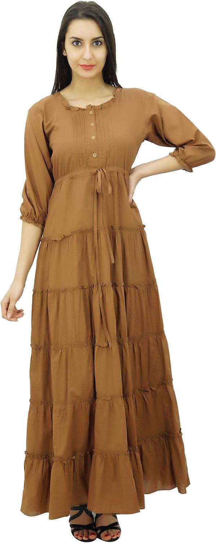 Bimba Women's 3 Same day shipping 4 Sleeve Summer Cotton Dress Wai Maxi Drawstring Cheap mail order sales