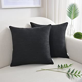 NATUS WEAVER Throw Pillow Case Faux Linen Toss Soft Pillowcase Cushion Covers for Couch Bench Blanket, with Invisible Zipper, 22x22 inches, Black, 2 Pieces