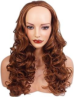 レディース3/4ハーフウィッグ - チェスナッツブラウン - カーリースタイル - 22インチ - 250g - 耐熱性合成繊維 - ヘアピースエクステンションのクリップ - ルックスとエレガントによる本物の髪のような雰囲気