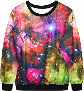 Samtree Graphic Printed Sweatshirts for Women, Galaxy Starry Pattern Sweater