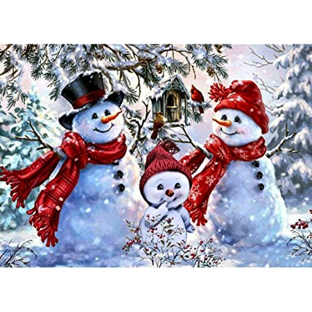 Full Drill Diamond Mosaic Cross Stitch Kits Diamond Embroidery Christmas Snowman