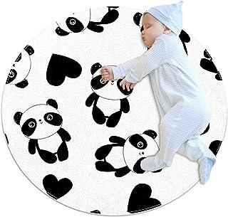 Panda med hjärta, barn rund matta polyester överkast matta mjuk pedagogisk tvättbar matta barnkammare tipi tält lekmatta