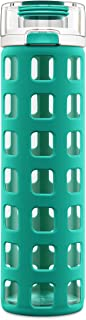 Ello Syndicate Glass Water Bottle with One-Touch Flip Lid, 20 oz, Blue Tide