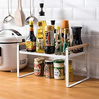 Étagère de cuisine, étagère à épices, en fer et poignée en bois, convient pour le rangement de la maison et de la cuisine,...