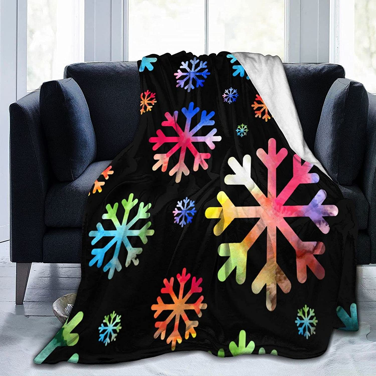 Flannel Large discharge Baltimore Mall sale Fleece Throw Blanket Seamles Snowflake Watercolor Vector