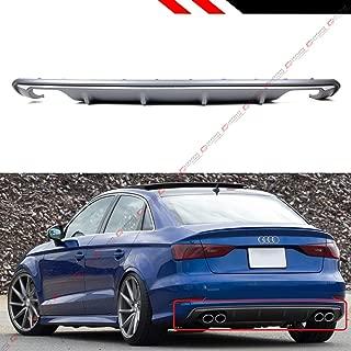 Fits for 2013-2016 Audi A3 4 Door Sedan 8V S3 Style Quad Exhaust Shark Fin Rear Bumper Diffuser Lip