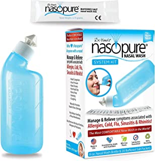 Dr. Hana's Nasopure Nasal Wash   System Kit   The Nicer Neti Pot - Nasal Symptoms of Allergies, Cold, Flu, & Sinusitis - F...