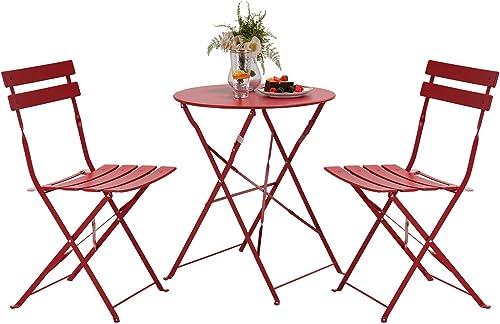 Grand patio Ensemble Table et Chaises, 2 Chaises Pliables et 1 Table Ronde, Diverses Couleurs, Salon de Jardin, Acier...