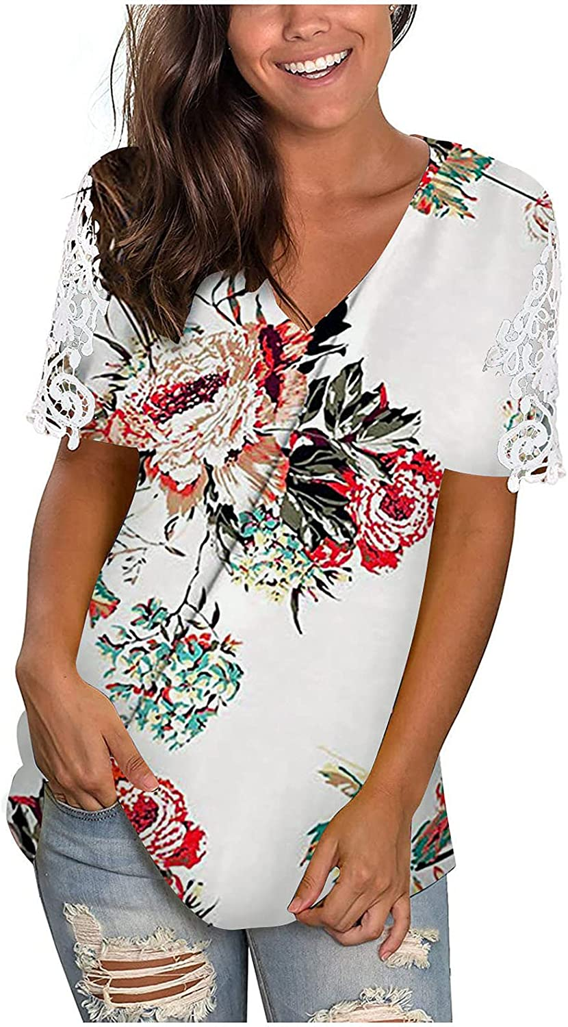 Jaqqra Summer Tops for Women, Womens Short Sleeve Tops Floral Hollow Out V Neck T-Shirts Loose Blouse Tops Tunic Tee