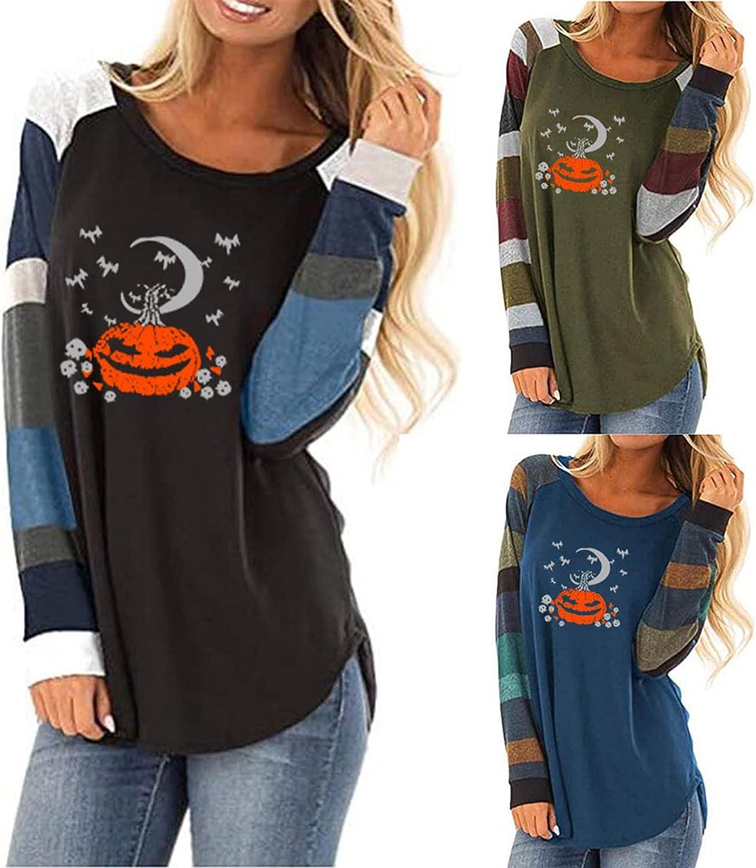 Womens Tops Halloween Pumpkin Skull Graphic Print Blouse Color Block Patchwork Tunic Striped Long Sleeve T Shirt
