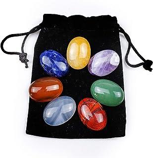 Alextreme 7pcs Oval Natural Crystal Gemstone Ornaments Healing Yoga Meditation Energy Stone