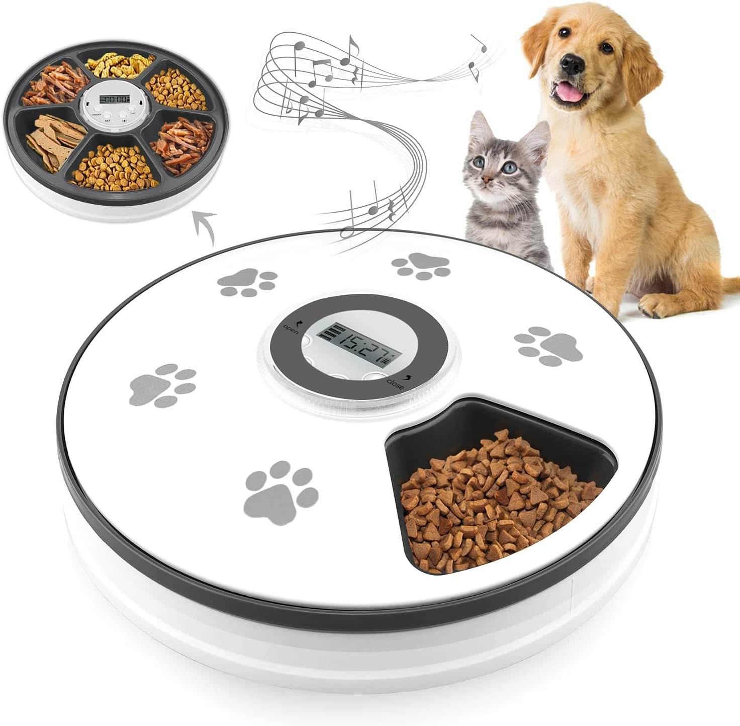 Chintu Automatic Cat Feeders with Digital Clock - 6 Meals Smart Auto Pet Dry Food Dispenser for Cats and Dogs with Voice Reminder Portion Control Programmable Timed Cat Feeder (Battery Powered)