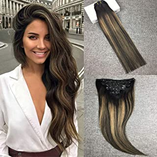 Reysaina 24inch Thick Double Weft Clip in Human Hair Extensions 110g 7pcs Natural Black to Blonde Highlight Black #1B/19/1B Full Head Silky Straight 100% Human Hair Clip in Extensions