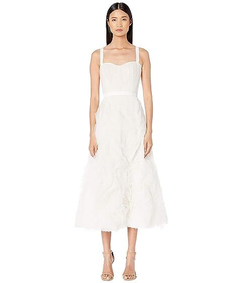 Marchesa Notte Sleeveless Textured Tulle Tea Length Gown