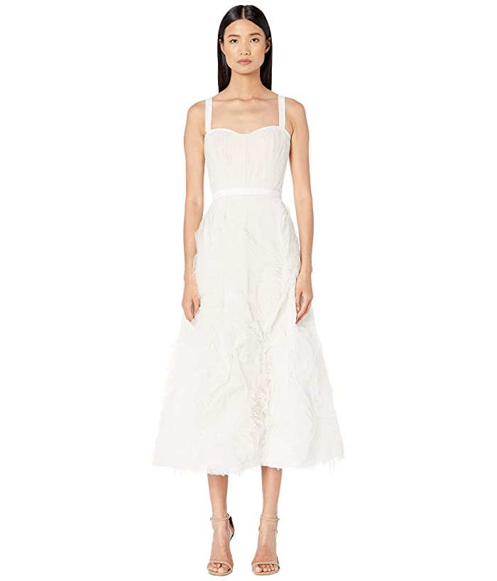 Sleeveless Textured Tulle Tea Length Gown by Marchesa Notte