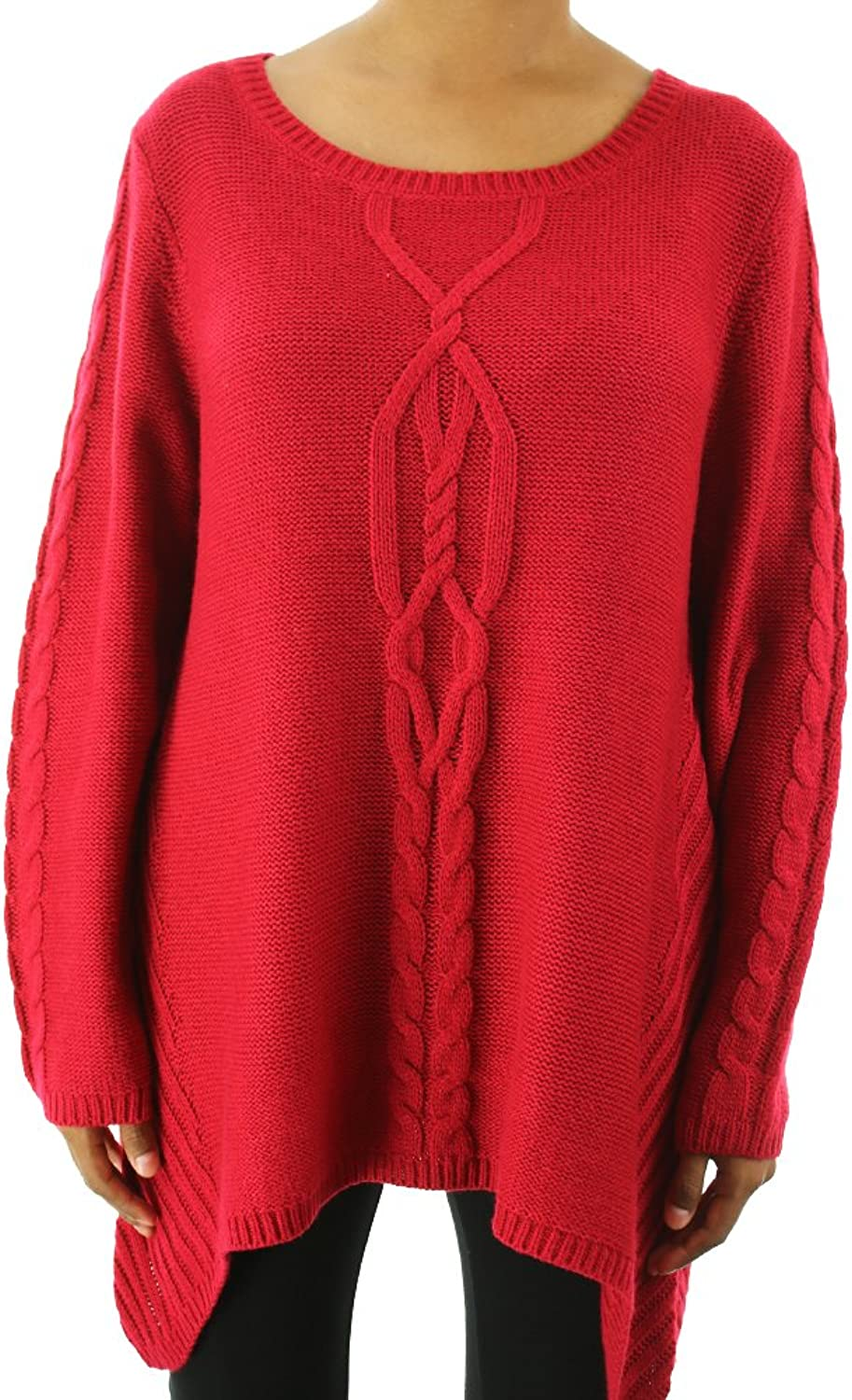 Style & Co. Red MixedKnit Asymmetrical Sweater Xl
