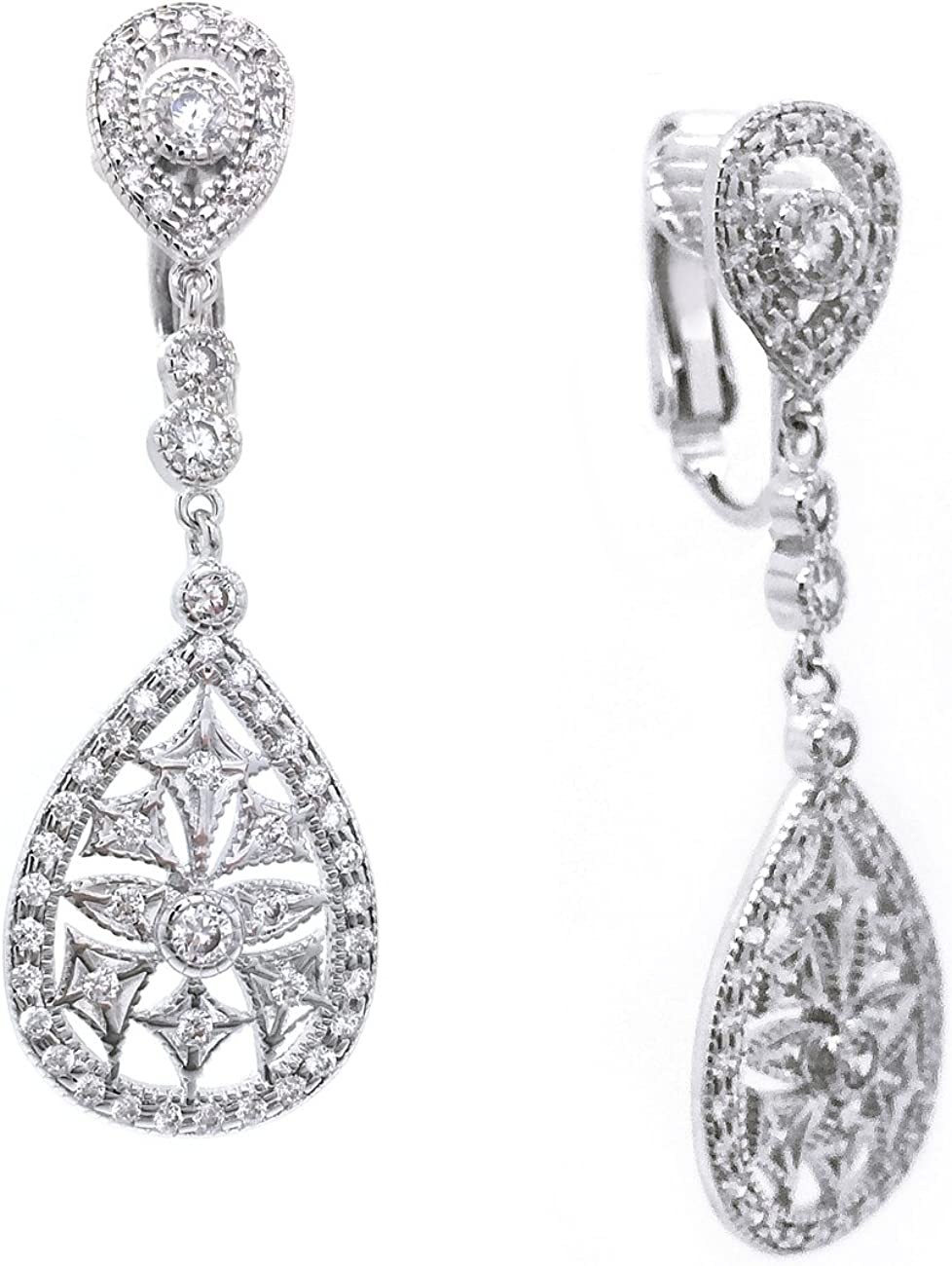 Sparkly Bride CZ Clip On Large special price !! Earrings Cutout 5% OFF Vintage Wedding Teardro