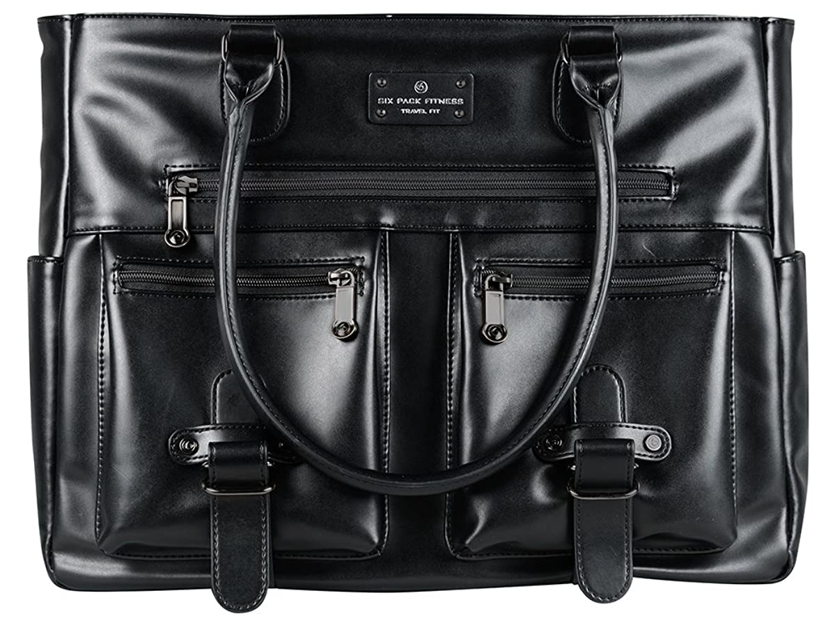 6 Pack Fitness Renee Leather Tote with Insulated Meal Management System