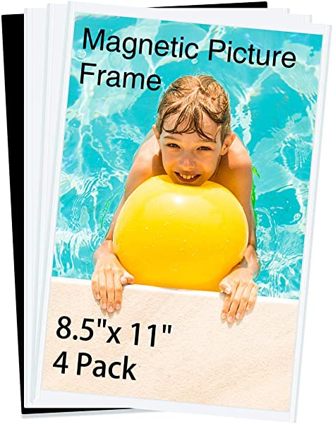 HIIMIEI Magnetic Photo Frames For Refrigerator 8 5x11 4 Pack Fridge Magnets Picture Frame Photo Pocket Perfect For Displaying Frames Children Artworks And Schedules