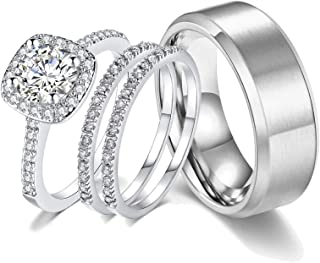Ahloe Jewelry 18k White Gold Wedding Ring Sets for Him and Her Women Men Titanium Stainless Steel Bands 2Ct Cz Couple Rings