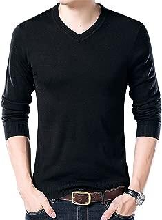 Yeokou Men's Casual Slim V Neck Winter Wool Cashmere Pullover Jumper Sweater