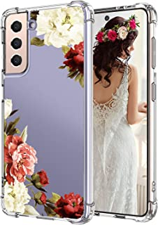 Compatible with Samsung Galaxy S21 Ultra 5G 6.8 Inch Case 2021, White and Red Peony Floral Pattern Design Full Body Protec...