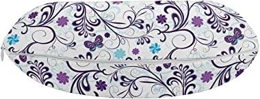 Ambesonne Floral Travel Pillow Neck Rest, Spring with Flying Inspirational Butterflies and Swirls Branches Design, Memory Foa