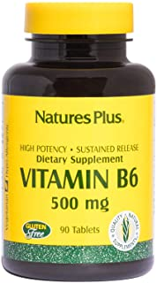 NaturesPlus Vitamin B6 (Pyridoxine HCI), Sustained Release - 500 mg, 90 Vegetarian Tablets - Energy Support Supplement, Mo...