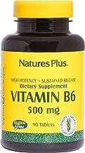 NaturesPlus Vitamin B6 (Pyridoxine HCI), Sustained Release - 500 mg, 90 Vegetarian Tablets - Energy & Metabolism Booster, ...