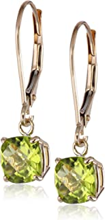 Amazon Collection10K oro 6mm cojín Gemstone Lever Back Earrings