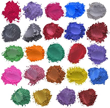 マイカパウダー ピュア、カラー顔料パウダー、着色剤、手作り石鹸作りツール、粉体塗料、石鹸液、24色、レジン染料キャンドル作り、アイシャドウ、赤面、ネイルアート、レジンジュエリー、アーティスト、クラフトプロジェクト (多色)